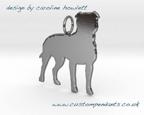 Pitbull Natural Ears dog silhouette pendant sterling silver handmade by saw piercing Caroline Howlett Design